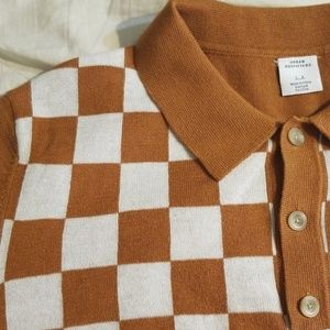 EUC Urban Outfitters Checkerboard Sweater Polo